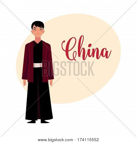 Chinese man in traditional national costume, black changshan robe and jacket, cartoon vector illustration with place for text. Man from China in Chinese national clothes, garment, costume