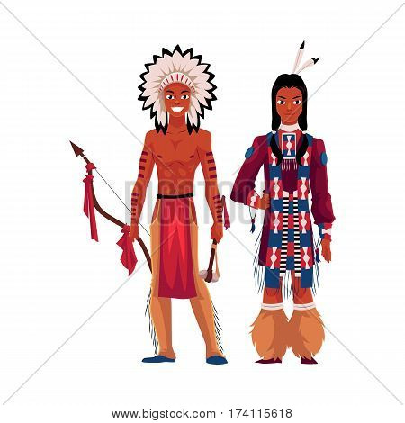 Native American Indian man shirtless in feather headdress and wearing fringed tribal shirt, cartoon vector illustration isolated on white background. Native American, Indian men in national clothes