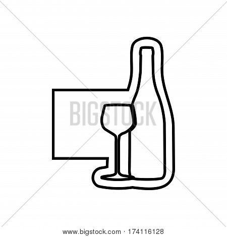 monochrome contour emblem with bottle and glass of wine vector illustration