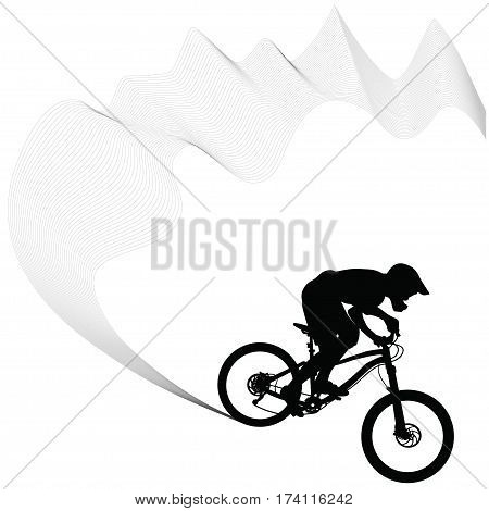 Bike race on a mountain -- silhouette vector