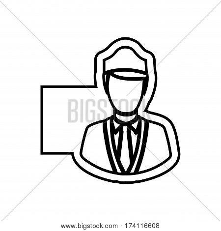 monochrome contour emblem with flight attendant vector illustration