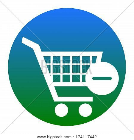 Vector Shopping Cart with Remove sign. Vector. White icon in bluish circle on white background. Isolated.