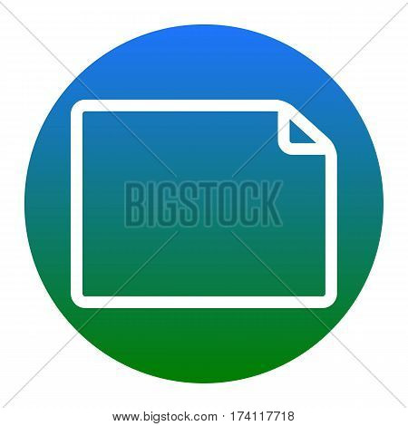 Horisontal document sign illustration. Vector. White icon in bluish circle on white background. Isolated.