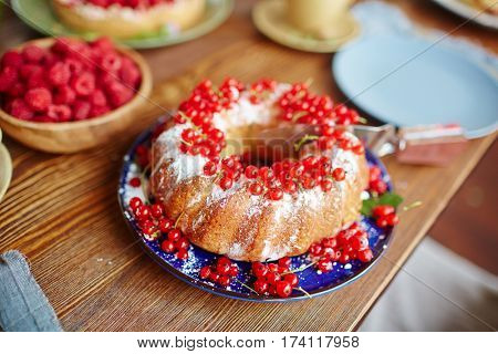 Close-up view of freshly-baked homemade cake with redcurrant and powdered sugar lying on wooden table