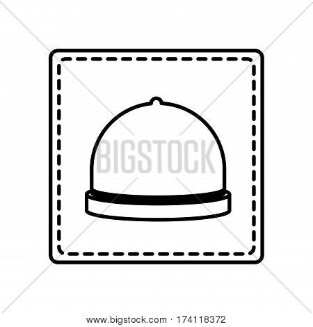 monochrome contour square and dotted line with cloche vector illustration