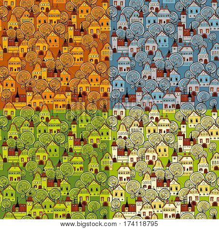 Seamless vector pattern with 4 seasons in the city