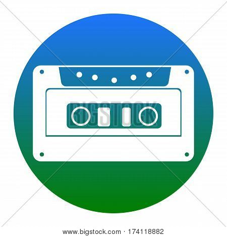 Cassette icon, audio tape sign. Vector. White icon in bluish circle on white background. Isolated.