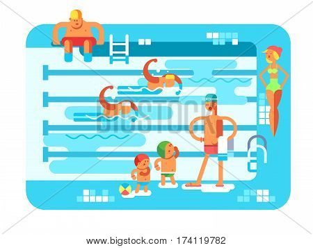 Public swimming pool. Water sport, resort swim, vacation and relaxation, vector illustration