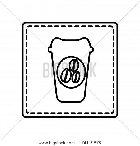 monochrome contour square and dotted line with disposable coffee cup vector illustration