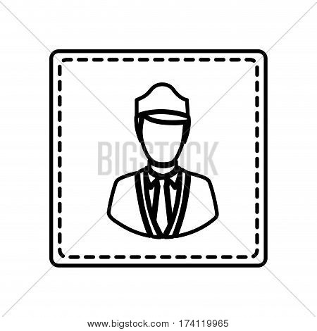 monochrome contour square and dotted line with flight attendant vector illustration