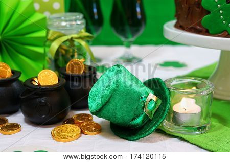 St Patricks Day Party Table With Chocolate Cake