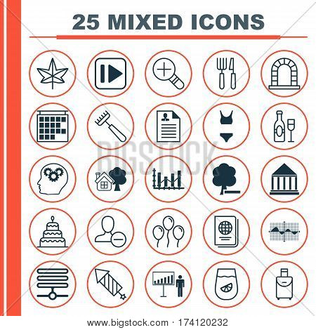 Set Of 25 Universal Editable Icons. Can Be Used For Web, Mobile And App Design. Includes Elements Such As Departure Information, Following Music, Bathing Costume And More.