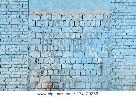 Grunge blue brick wall as background texture