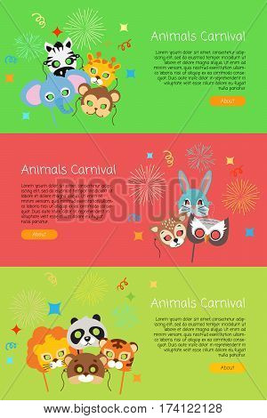 Animals carnival collection of masks for kids. Exotic zebra with elephant. Cute monkey and cat with friendly owl near lion and panda. Colourful decoration posters in cartoon style vector web banner