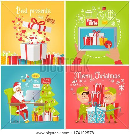 Vector colourful poster of christmas pictures with best presents, gift box, online shopping, Web banner of Santa Claus reading online letters and elves packing presents in boxes in cartoon style.