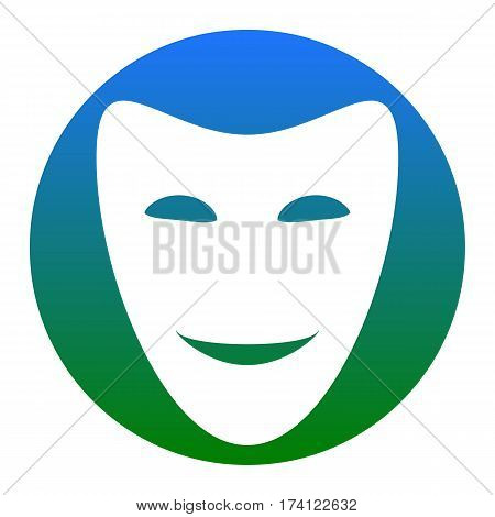 Comedy theatrical masks. Vector. White icon in bluish circle on white background. Isolated.