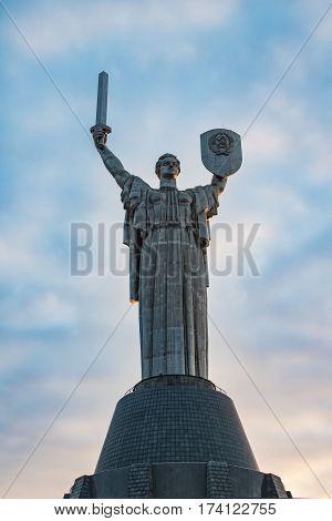 Monument Rodina Mother On Sky Background