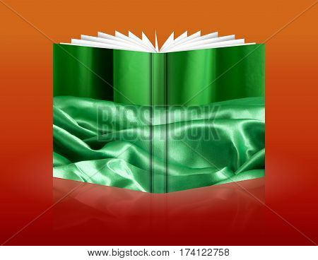 Book Of A Background Green Fabric