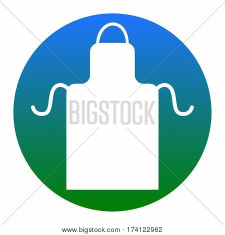 Apron simple sign. Vector. White icon in bluish circle on white background. Isolated.
