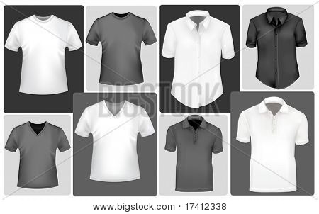 Polo and t-shirts. Photo-realistic vector.