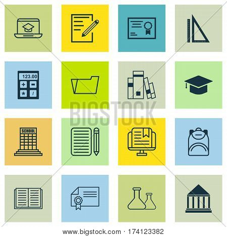 Set Of 16 Education Icons. Includes Opened Book, Document Case, E-Study And Other Symbols. Beautiful Design Elements.
