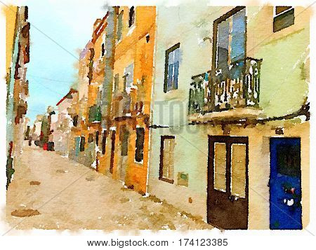 Digital watercolor painting of an alley with colorful Portuguese houses in Setubal in Portugal with space for text.