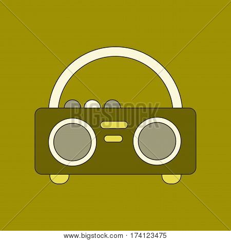flat icon on stylish background tape recorder