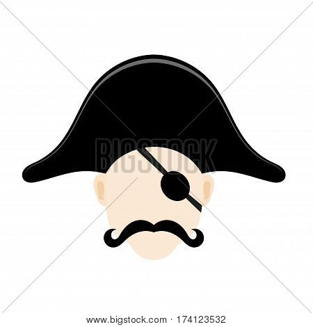 Vector illustration of a pirate head a cocked hat with an eye patch and a mustache. Vector icons for web site design. Stock illustration
