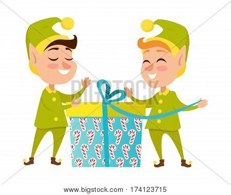 Two happy elves with big present on white background worn in green with yellow costumes and hat. Vector illustration of pixies with gift pack for children. Pattern of candies on box with blue ribbon