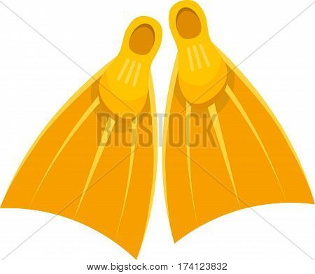 Vector illustration of a pair of yellow rubber fins on a white background. Cartoon flippers for diving. Summer hobbies and entertainment. stock vector