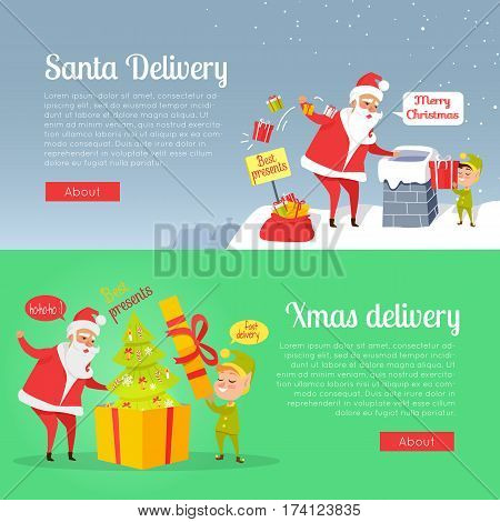 Best presents of Xmas delivery on two-coloured postcard blue and green. Elves help to pack and deliver children s gifts. Vector illustration of big Christmas tree in yellow box with Santa on roof
