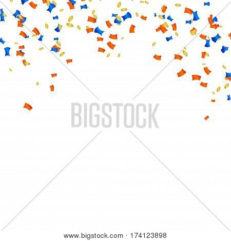 Abstract vector background with multicolored confetti. Cartoon confetti on a white background. Stock vector illustration