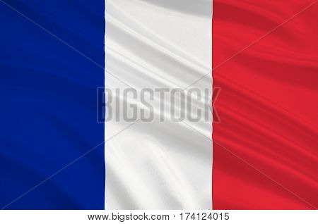 Flag of France is a sovereign state including territory in western Europe. 3d illustration