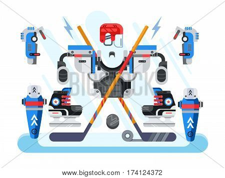 Hockey equipment set. Sport game, stick and protector knee or hip, vector illustration
