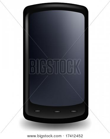 Black glossy stylish phone. Vector.