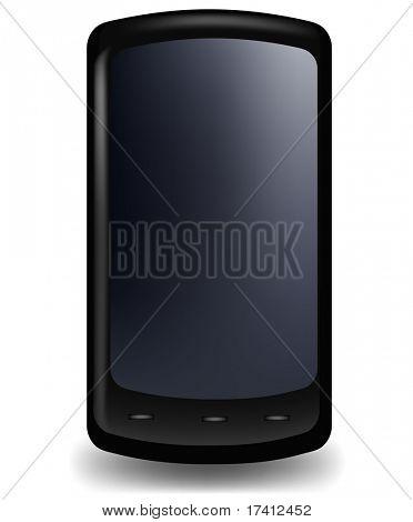 Stilvolle Telefon, schwarz-glänzend. Vektor.