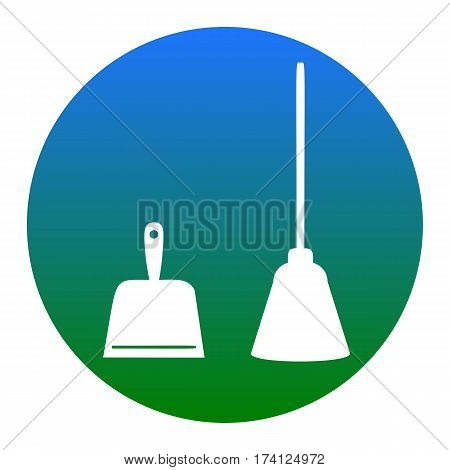 Dustpan vector sign. Scoop for cleaning garbage housework dustpan equipment. Vector. White icon in bluish circle on white background. Isolated.
