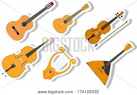 Set of color vector Cartoon musical instruments on a white background. Stock vector illustration