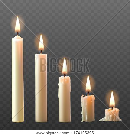 Vector set of realistic white burning candles isolated on a transparent background. Candles with melted wax on different combustion stage
