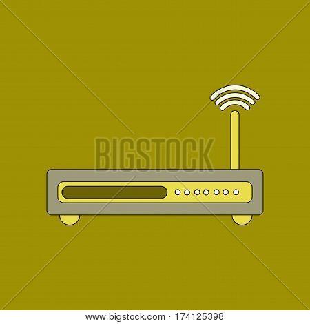 flat icon on stylish background Wi fi modem