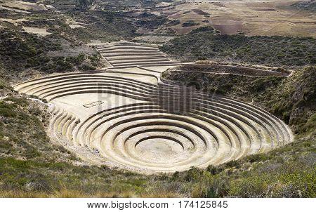 Moray ancient circular terraces. Inca Experimental Agriculture Station at Moray, Peru.