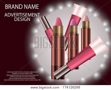 Glamorous Set of tubes with lip gloss and lip balm on the sparkling effects background. Mock-up 3D Realistic Vector illustration for design template