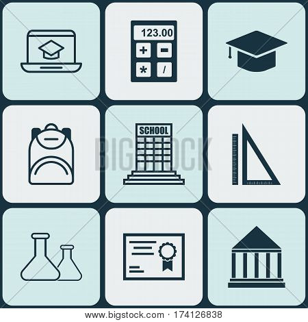 Set Of 9 Education Icons. Includes Graduation, Distance Learning, Measurement And Other Symbols. Beautiful Design Elements.