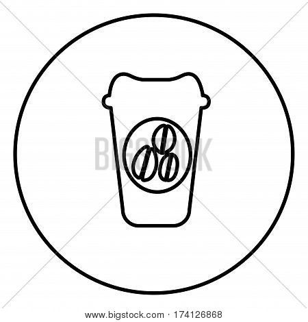 monochrome contour circular frame with disposable coffee cup vector illustration