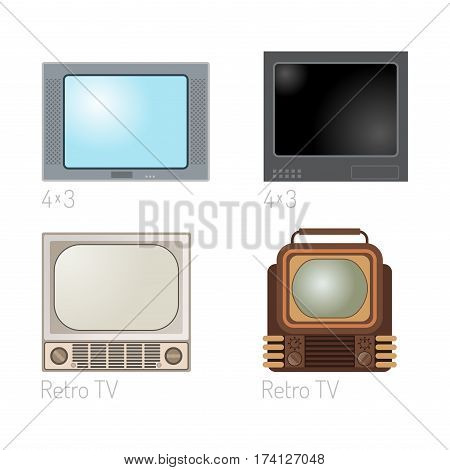 TV screen vintage monitor template electronic device technology digital size diagonal display and video retro plasma home tool vector illustration. Entertainment old liquid movie equipment.