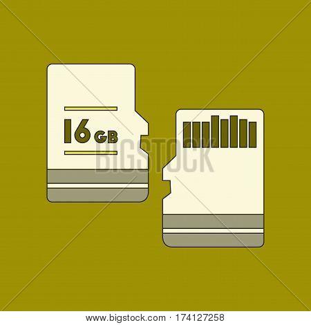 flat icon on stylish background micro SD