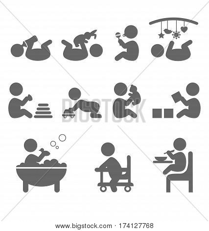 Baby action flat icons isolated on white background