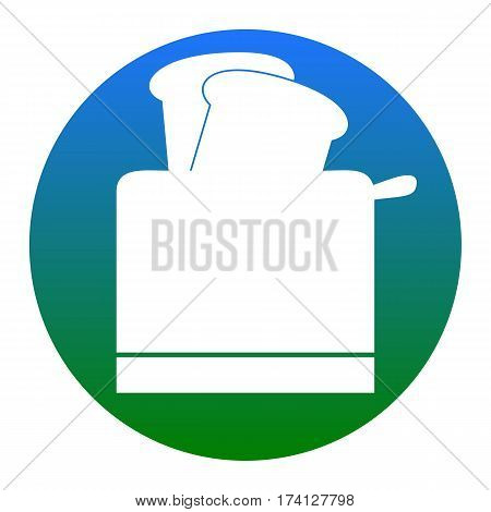 Toaster simple sign. Vector. White icon in bluish circle on white background. Isolated.