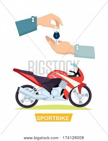Sportbike with hands and passing key. Process of buying or renting sportbike. Red-black motorbike. Vector illustration of giving key and motorcycle in flat style. Sales and purchase in cartoon design