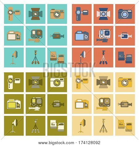 assembly of flat icon multimedia technology camcorder photo camera professional lighting tripod micro SD